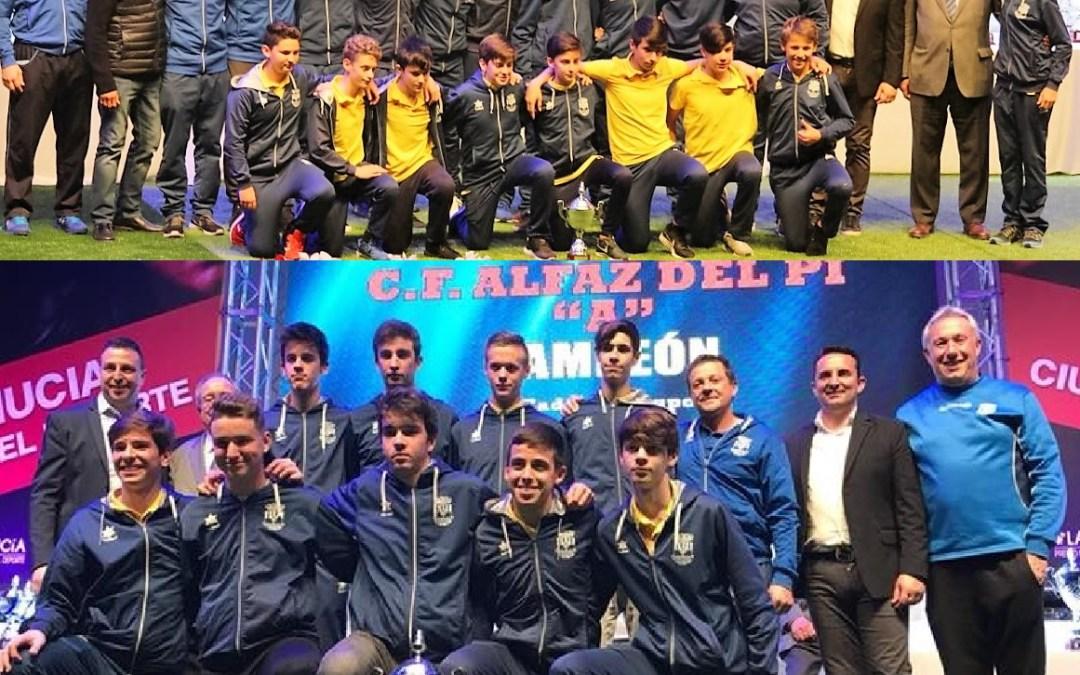 Dos equipos de l'Alfàs del Pi fueron premiados en  la Gala Anual de Entrega de Trofeos e de la Federación de Fútbol de la Comunidad Valenciana