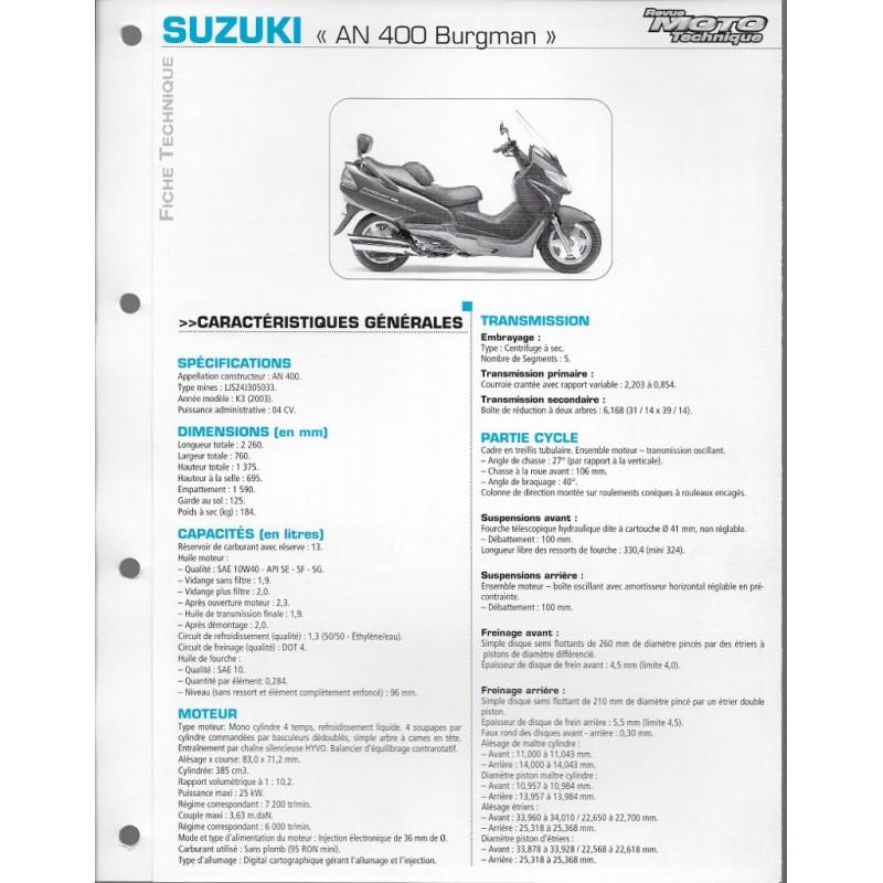 SUZUKI AN 400 Burgman K3 de 2003 (Fiche RMT)