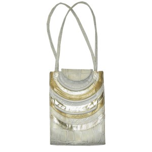 Pinky USA vintage cream and gold leather handbag