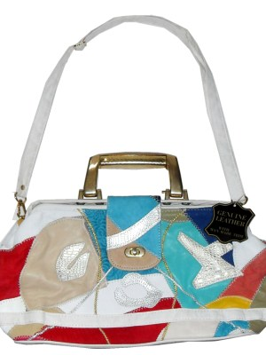 Retro large colourful patchwork leather bag
