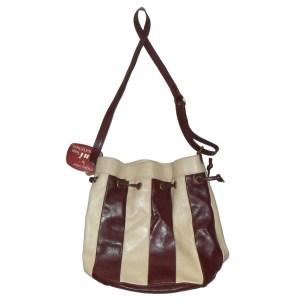 Burgundy and cream striped leather shoulder bag