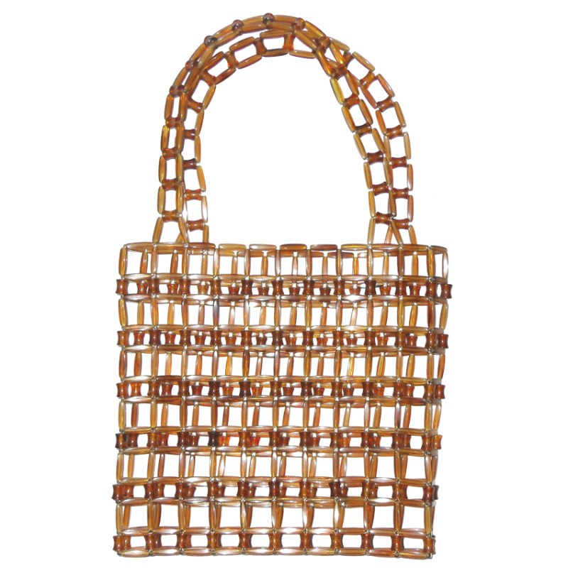 Vintage brown clear plastic linked handbag