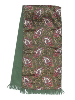 Green paisley design one side and green wool the other vintage Lochmarl scarf.