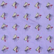 Pocket handkerchief with a lilac background and a design of fishing bait.