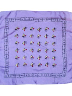 Fishing bait design silk pocket handkerchief with a lilac background.