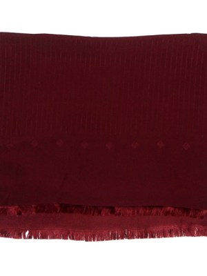 Long silk scarf with handrolled edges and a maroon pinstripe design, made in Italy