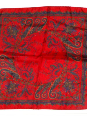 Lanvin red patterned silk pocket square handkerchief