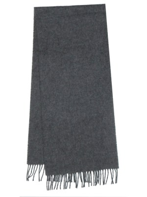 Long grey lambswool fringed end scarf.