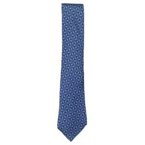 Hermes blue silk tie