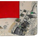 Horse and carriage pictorial small scarf