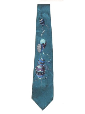 Vintage Liberty silk tie with a design of balloons on a textured blue silk background
