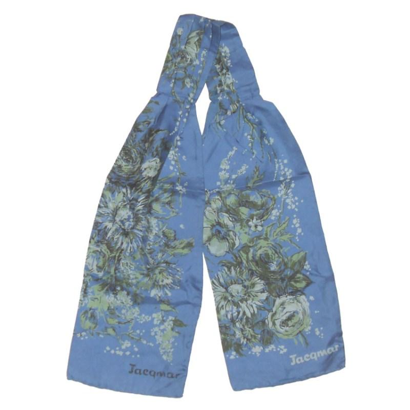 Vintage Jacqmar silk cravat with a blue background and a floral design
