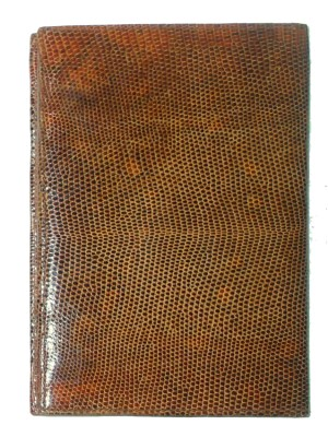Ubrique Lizard Skin and Nubuck Wallet with a  Nubuck and Moiré Fabric Interior