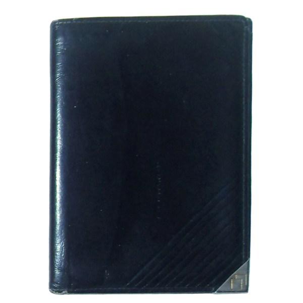 Black bifold wallet with silvertone metal corner
