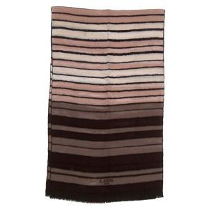 Lanvin Paris long silk scarf with brown stripe design