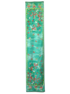 Blumarine long silk floral design scarf