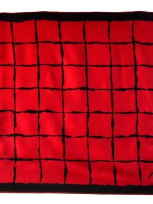 Red and black design silk scarf by Geraldine Paris