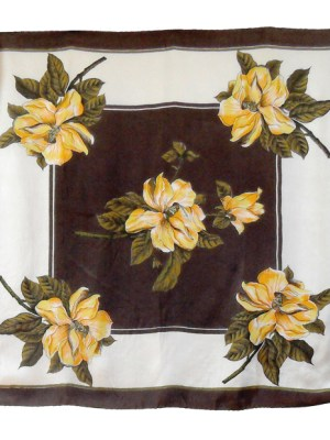 Vintage silk scarf with a design of yellow and orange roses on a brown and cream background