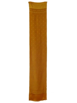 Textured silk satin dark gold long scarf by Jaeger