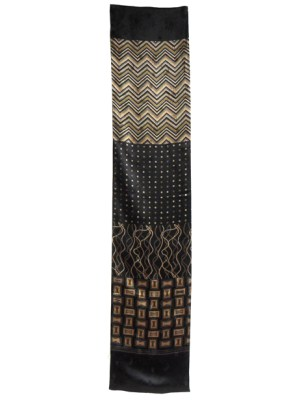 Long textured silk satin scarf in a brown and gold design