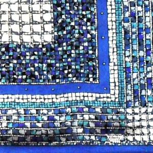 Liberty silk scarf with a blue, purple and white design