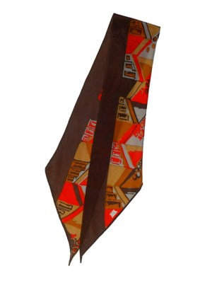 Long Lberty of London silk scarf with a brown border and abstract design in red, mustard and grey