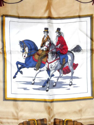 Vintage Italian scarf with design of two horse riders