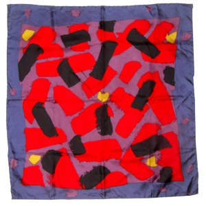 Hand printed abstract design silk scarf in bright colours