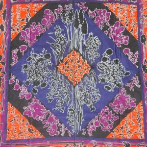 Lanvin silk scarf with a vibrant orange, purple, blue and black design