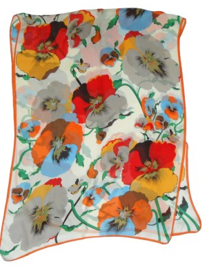 Large silk scarf with a vibrant floral design