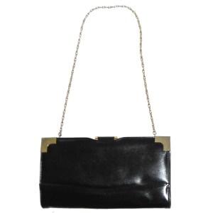 Vintage Elbief frame large black leather clutch bag