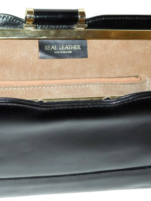 Vintage Elbief frame large black leather clutch bag