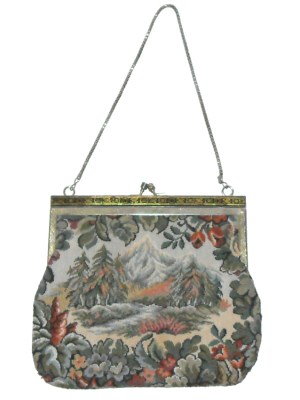 Vintage tapestry framed evening bag