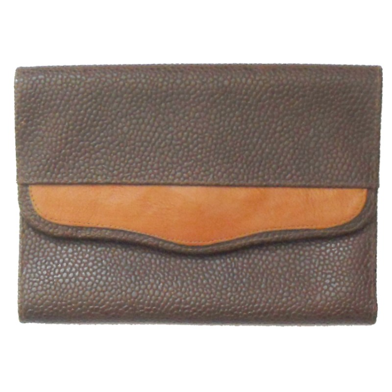 Brown grained leather Italian wallet