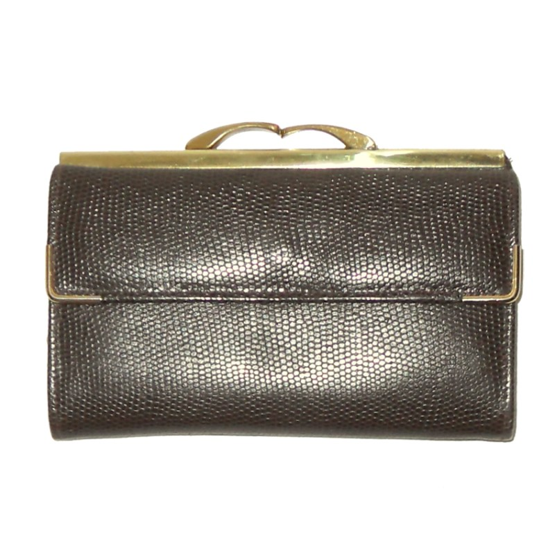 Brown grained calf leather purse