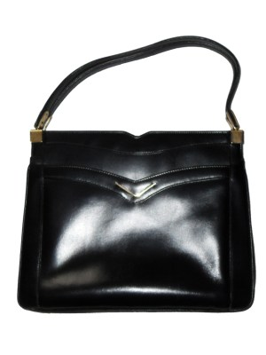 Vintage Dunhill black leather handbag