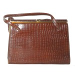 Vintage 1960s brown moc croc framed leather handbag