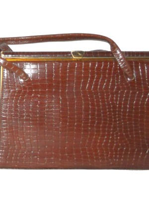 Vintage 1960s brown moc croc framed leather handbag