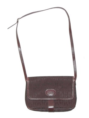 Louis Feraud Paris burgundy fabric shoulder bag with black leather lining