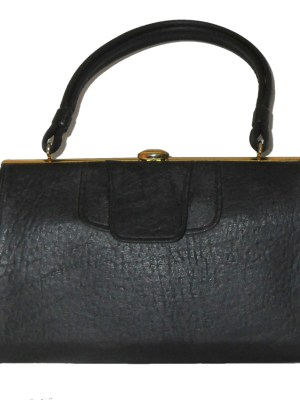 Maclaren black textured vinyl framed handbag