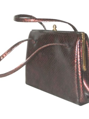 Burgundy faux snakeskin Elbief framed handbag with suede lining