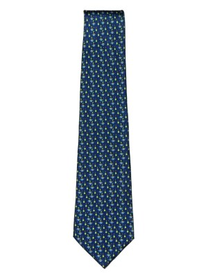 Boat and buoy designon a blue background silk tie
