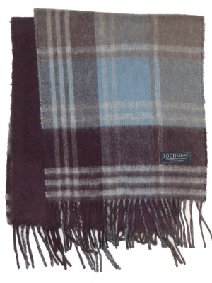 Lochmere Scotland merino cashmere blend plaid and plain design scarf