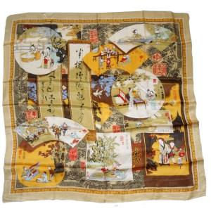 Pictorial scarf depicting various scenes