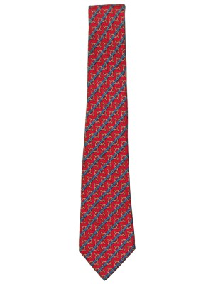 Hermes spur design on red background silk tie