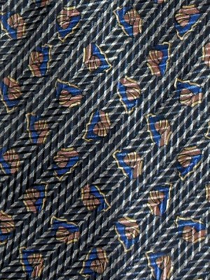 Lanving silk tie with a design in blue and copper