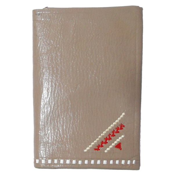 Leather wallet with red and white stitched detail