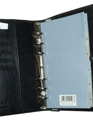 Black faux leather Filofax Kent