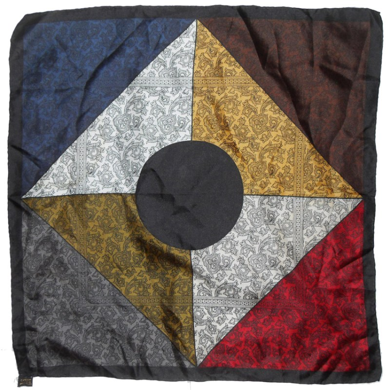 Multi colour vintage silk pocket square