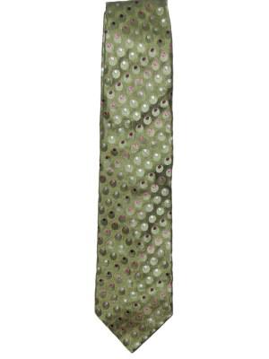 Green spot design silk tie by Cacharel
